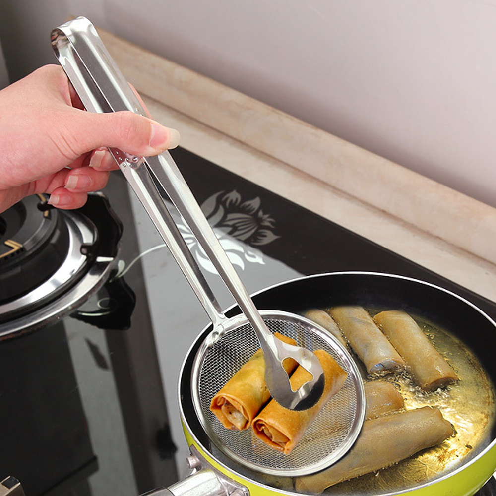 Stainless Steel Filter Colanders BBQ Food Clip Clamp Oil Frying Skimmer Salad Strainer Grid Cooking Tools