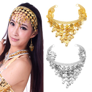 1PC Chic Belly Dance Hair Band Costume Dancing Coin Sequins Headbands Stage Performance Accessories