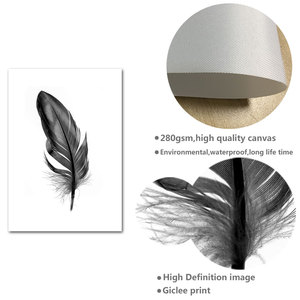 Image 5 - Allah Islamic Wall Art Canvas Poster Black White Feather Print Minimalist Nordic Decorative Picture Painting Modern Home Decor