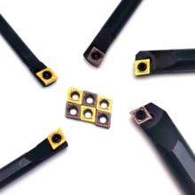 10pcs CCMT060204 Carbide Inserts with 1PC S07K S08K S10K S12M SCLCR06 Internal Turning Tool Set Hard Alloy Lathe Cutter Holder