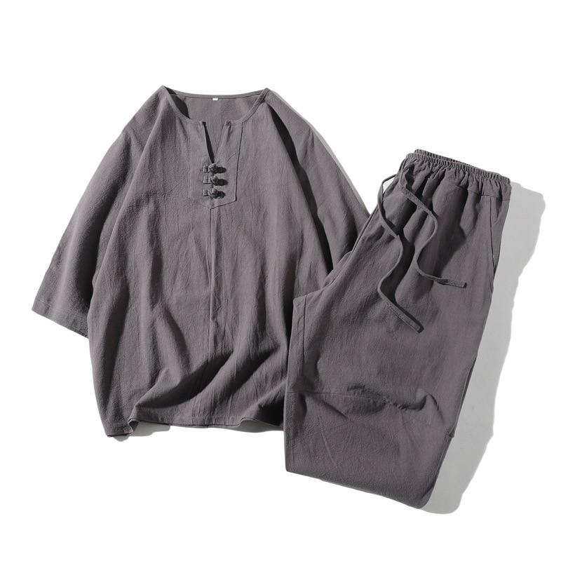 2 PCS Summer New Men's Linen Short-sleeved T-shirt + Pants Loose Chinese Style O-neck Men Pure White Male Camisetas Hombre SA-8