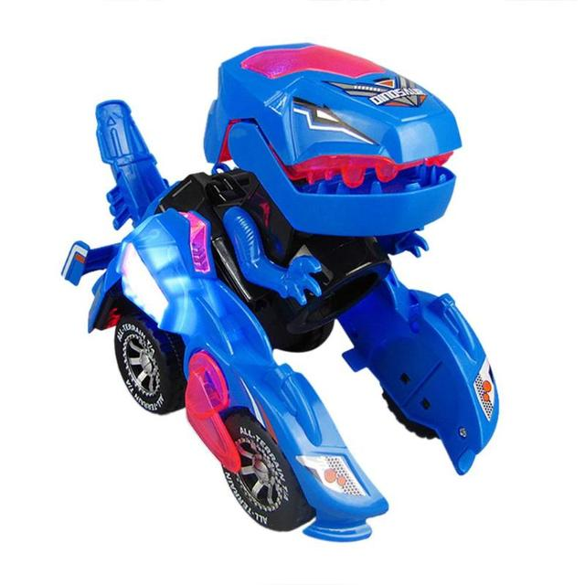 Electric Dinosaur Car Toy Universal Wheel Transformation Robot Vehicle With Lights Sounds Gift for Kids Christmas