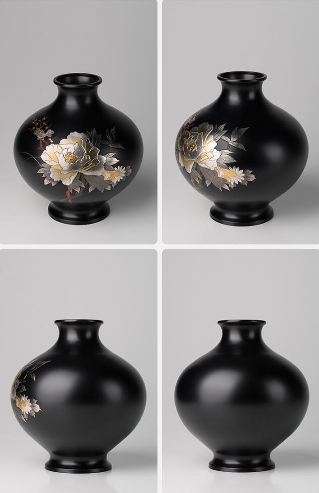 Engraved Black Bronze Chisel Flower Vase - Home & Garden