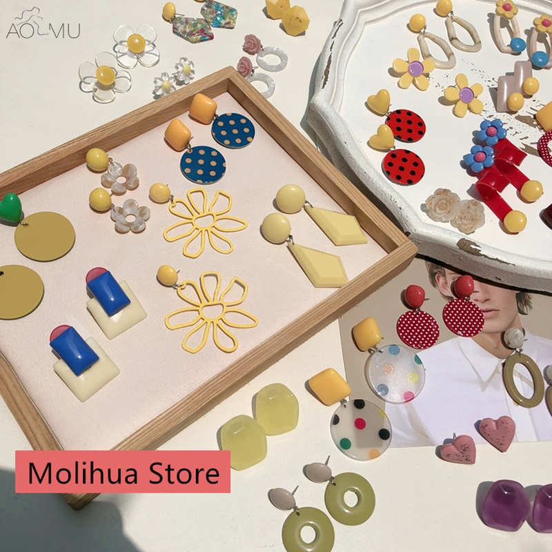 AOMU Korea Cute Acrylic Acetic Colorful Flower Love Heart Geometric Circle Statement Dangle Drop Earrings for Women Girl Jewelry(China)