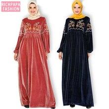 Artı boyutu kış kadife Abaya Dubai türk başörtüsü müslüman elbise kadınlar için İslami giyim Kaftan Kaftan elbiseler Robe Kleding