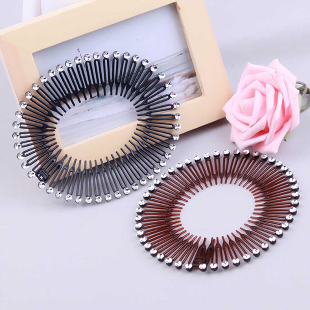 Plástico círculo completo estiramento flexível pente dentes faixa de cabelo clipe de lavagem facial peruca fixa acessórios femininos decorações de cabelo