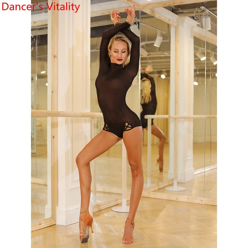 Latin Dance Training Clothes Women Mesh Long Sleeve Autumn Winter New Black Adult Body Suit Samba Tango Cha Cha Dancing Outfits