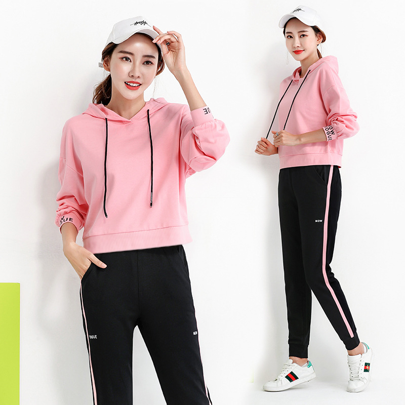 Sports Casual WOMEN'S Suit Spring And Autumn Running Sports Loose-Fit Pure Cotton Hoodie Two-Piece Set Team Sports Clothes Custo