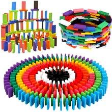 Color-Sort Wood-Domino-Blocks-Kits Dominoes-Games Educational-Toys Rainbow Early-Bright