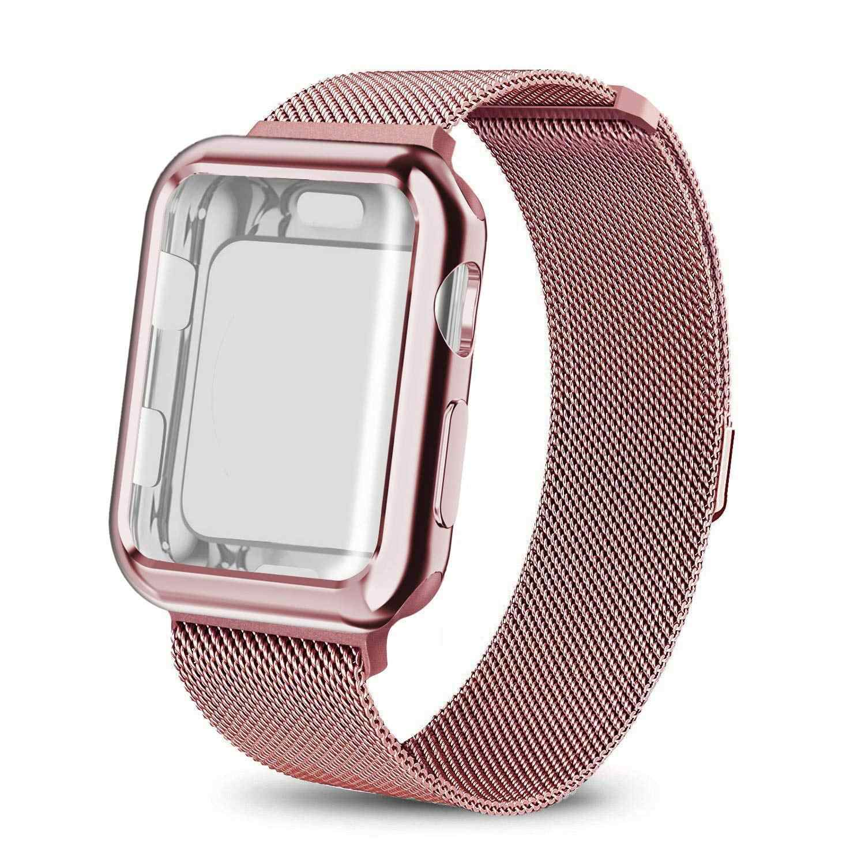 Milanese حلقة دائرية ل أبل حزام ساعة اليد 44 مللي متر 40 مللي متر 38 مللي متر 42 مللي متر سوار أبل ساعة حالة ل iwatch سلسلة 5/4/3/2 ساعة غطاء