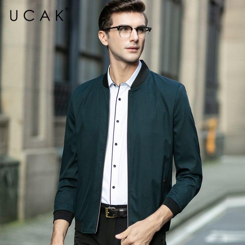 UCAK Brand Men Clothing Streetwear Clothes jacket Solid Color Blouson Homme Casual Jackets Spring New Arrival Zipper Coat U8069