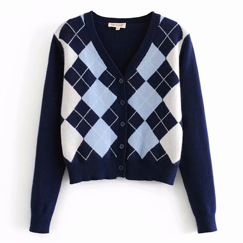 Sweater 2020 new women's sweater fashion plaid V-neck cardigan  sweater elegant ladies student wild sweaters 1