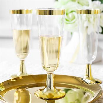 Flauta de champán desechable, copa de vino tinto con borde dorado, Copas de plástico para fiesta de boda (150ML) 12 Uds.