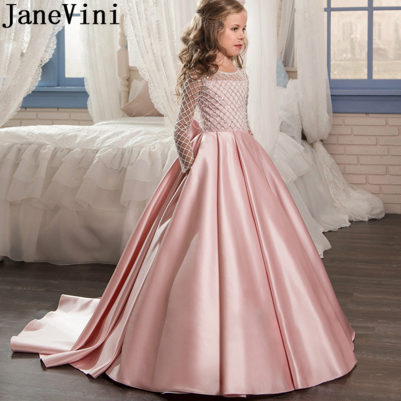JaneVini 2020 Purple Evening Dress for Girl Long Sleeve Beaded Pink Black Mint Flower Girl Dresses Children Satin Bow Prom Gowns
