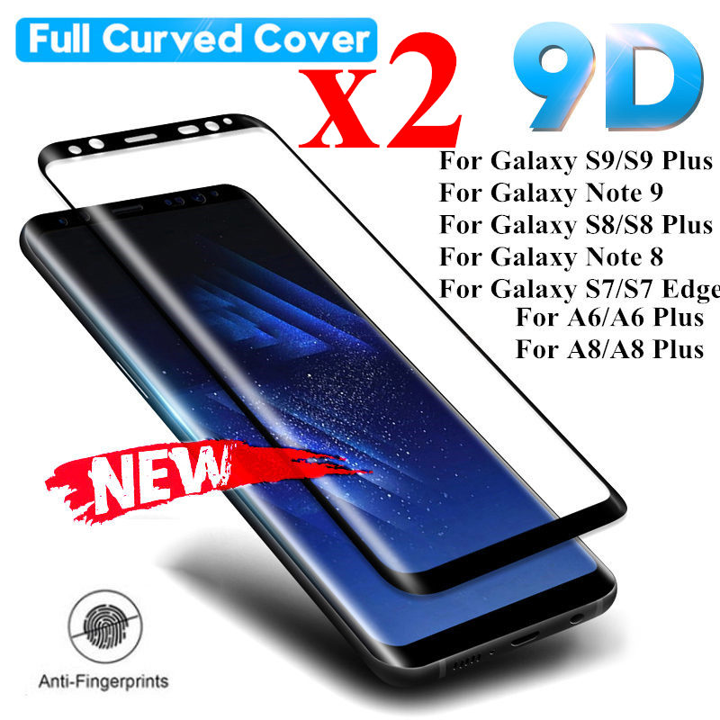 2pcs Tempered <font><b>Glass</b></font> Film For <font><b>Samsung</b></font> Galaxy S9 S8 Plus S7 Edge Note 9 <font><b>8</b></font> Full Curved Screen Protector For <font><b>Samsung</b></font> A6 A8 Plus <font><b>2018</b></font> image