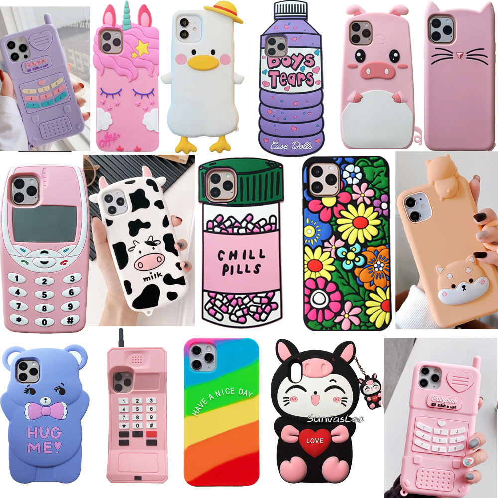 For iPhone 6 6s 7 8 Plus X XR XS Max 11 12 Pro Max Mini 3D Cartoon Cute Animal Bear Soft Silicone Case Phone Back Cover Shell