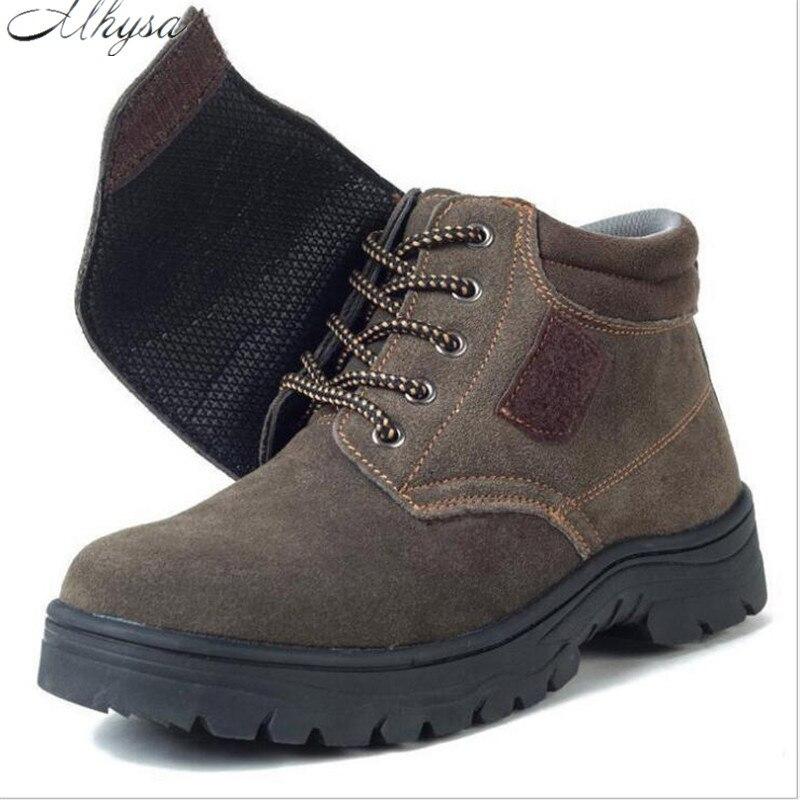 Mhysa 2019 Boots Men Anti-smashing Anti-pricking Labor Shoes Splash Men Safety Shoes Cowhide Anti-slip Wear-resistant Work Shoes