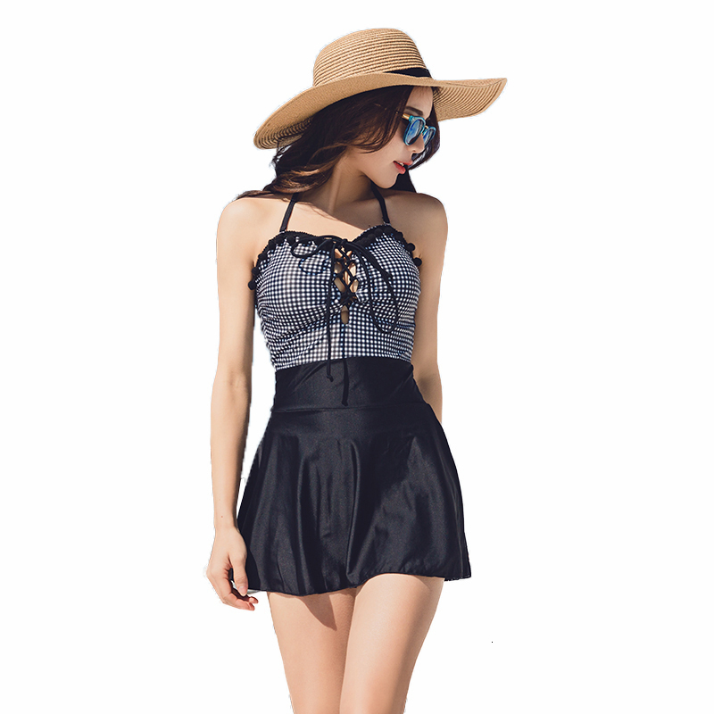 <font><b>Black</b></font> Plaid <font><b>One</b></font> <font><b>Piece</b></font> Swim Wear <font><b>2018</b></font> Hot Summer Slim Bathing Suits Halter Top <font><b>Swimsuit</b></font> Swimdress <font><b>Sexy</b></font> <font><b>Swimwear</b></font> Maillot De Bain image