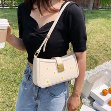 fashion baguette shape bags women 2020 solid women s shoulder bags minimalist handbags lady soft leather small street bag female Fashion Flower Baguette Shape Women Shoulder Bags Designer Handbags Luxury Daisy Meseenger Bag Lady Small Purses Female Sac 2020