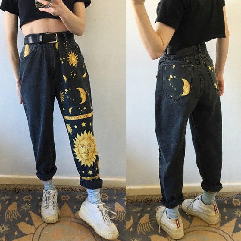 2021 Invierno Nueva Digital Impreso Pantalones Rectos Pantalones A La Moda Jeans Moda Impreso Damas Alta Cintura Ninas Denim Chic Pantalones Pantalones Vaqueros Aliexpress