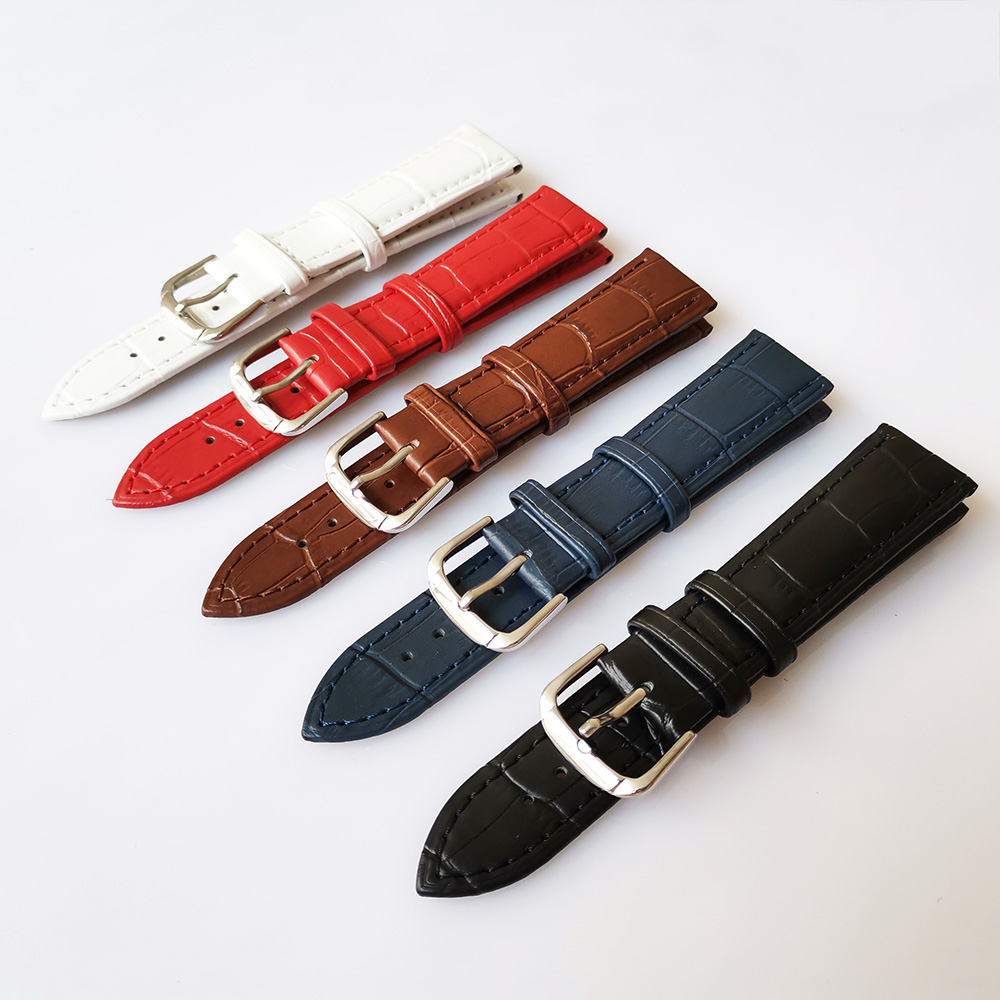Universal Genuine Leather Watchbands <font><b>12</b></font>/14/16/18/19/20/21/22/24 <font><b>mm</b></font> Pin buckle <font><b>Watch</b></font> Band <font><b>Strap</b></font> Wrist Belt Bracelet image