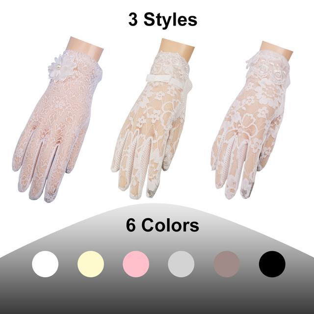 Women's Elegant Lace Gloves Wrist Sun Protection Driving Gloves for Summer Touch Screen Anti-Slip Fabric 3