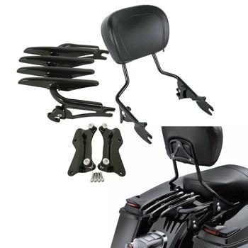 Motorcycle 4 Point Docking Luggage Rack Sissy Bar Backrest For Harley Touring Road King FLHXS 2014-2020 2019 2018 chrome/black