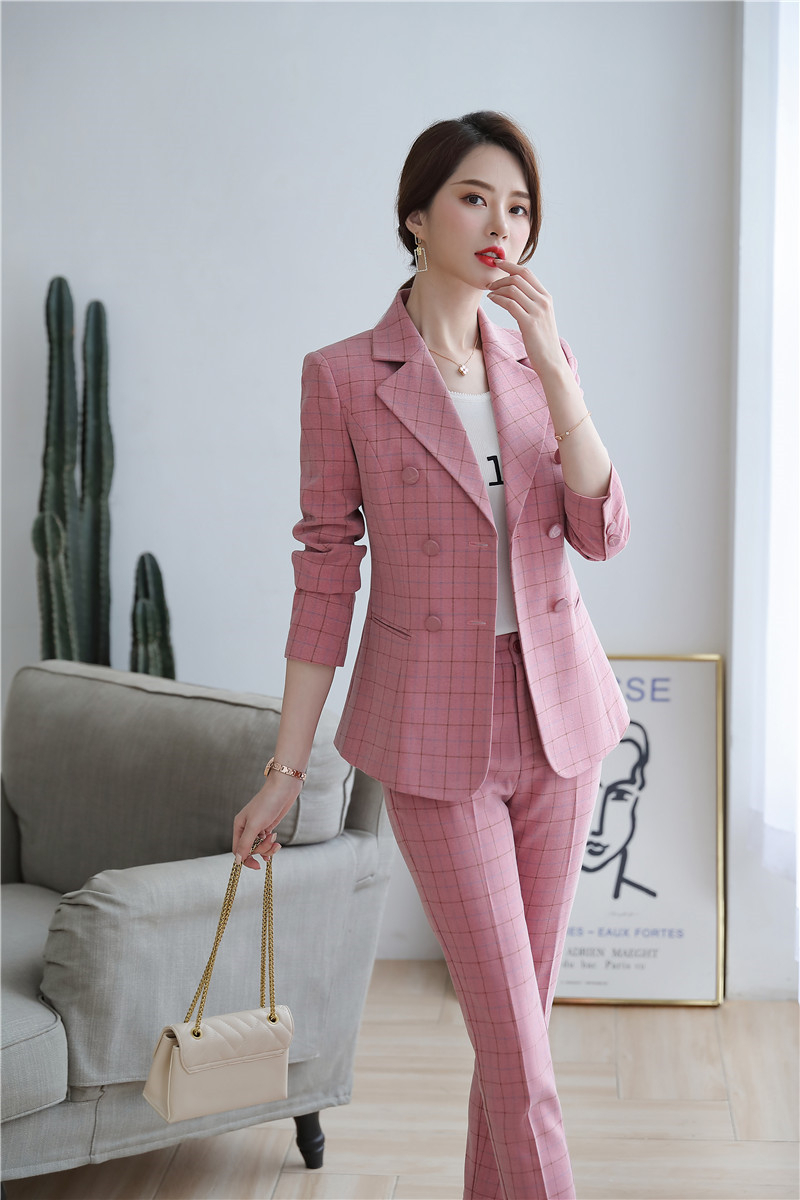 High Quality Fabric Novelty Pink Plaid Business Suits With Jackets and Pencil Pants Ladies Work Wear Blazers Pantsuits with Belt 21