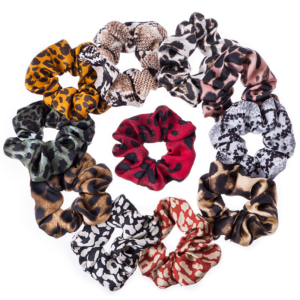 1Pc Chiffon Leopard Hair Scrunchies Ponytail Holders Rubber Band For Women Girls Headdress Elastic HeadBand Hair Accessories