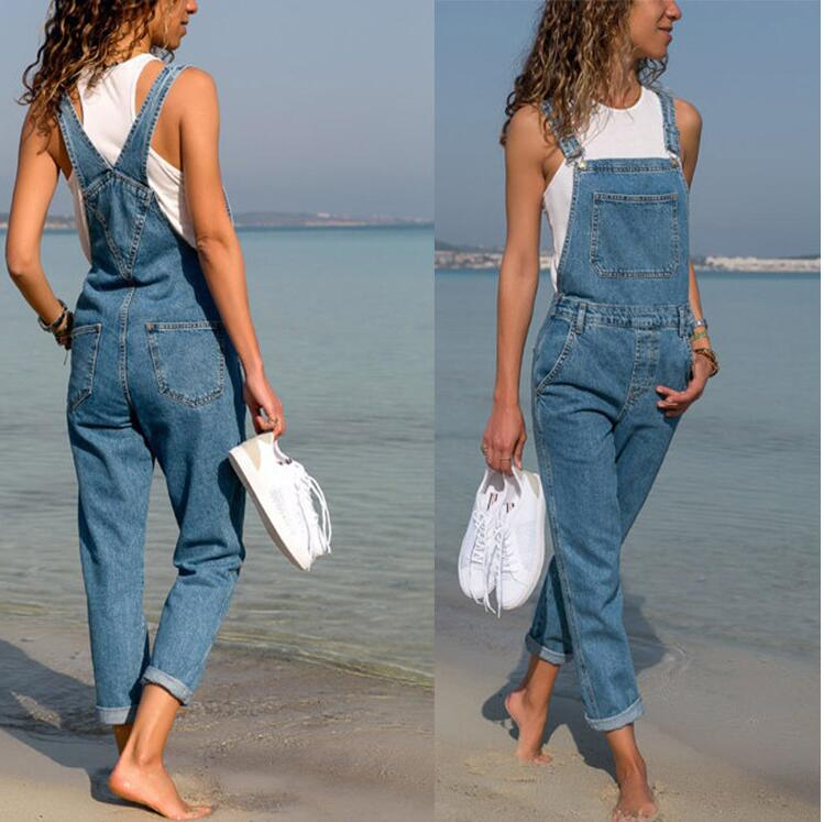Women's Denim Jumpsuit Women Romper Ladies Jeans Pants Woman Loose Overall Long Denim Trousers Female Jumpsuits Dungarees Jeans