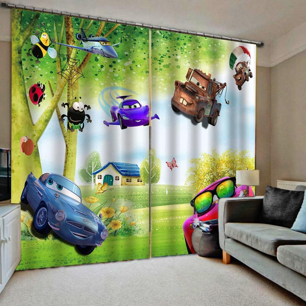 Green curtains cartoon kids curtains Customized size Luxury Blackout 3D Window Curtains For Living Room