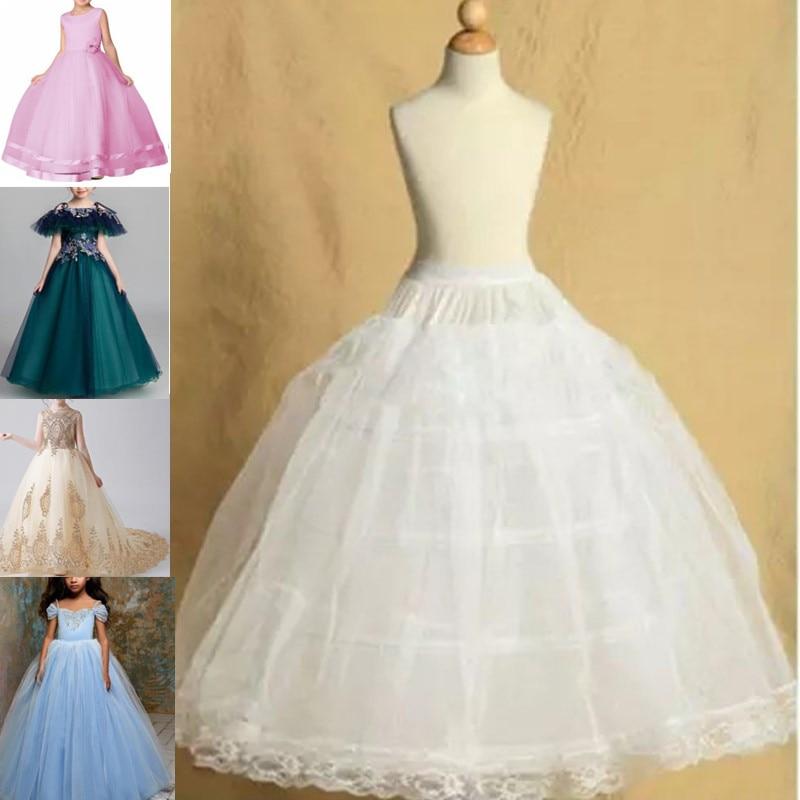 7 Sizes Fit 2-18Years White Petticoat For Girls Crinoline Underskirt Flower Girl Prom Ball Gown Dress Puffy Skirt Jupon 3 Hoops