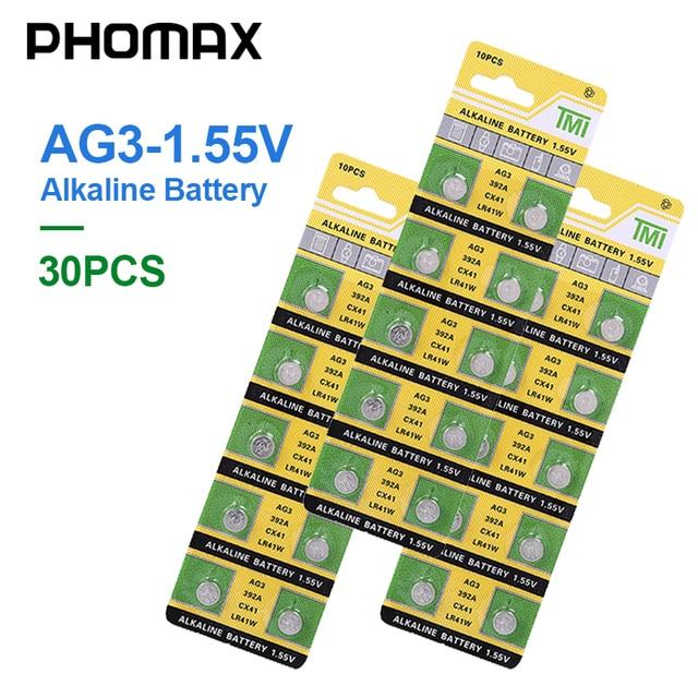 PHOMAX 30pcs/pack button battery AG3 SR41 192 392A L736 LR41 CX41 384 392 alkaline battery watch clock electronic scale battery