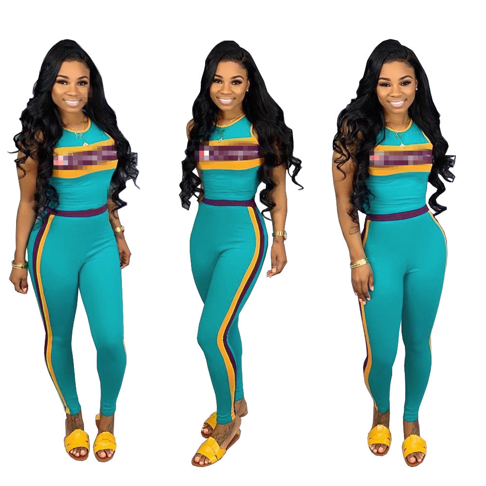 LY5014 Europe And America WOMEN'S Dress Amazon EBay Hot Selling Lettered Embroidered Sports Casual Two-Piece Set