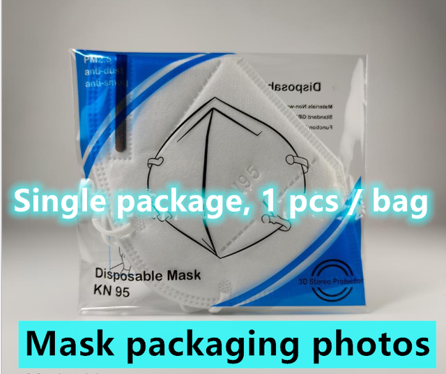 1 pcs/bag individually wrapped KN95 mask Reusable KN95 Mask Protection Face Masks 95% Filtration Mouth Cover Anti Dust P2 1