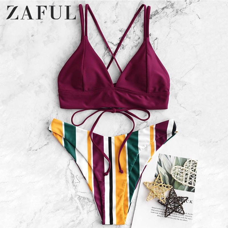 ZAFUL Bikini Crisscross Lace-up Multi Striped High Cut Bikini Spaghetti Straps Padded Sexy Swimsuit Push Up Bathing Suit 2019