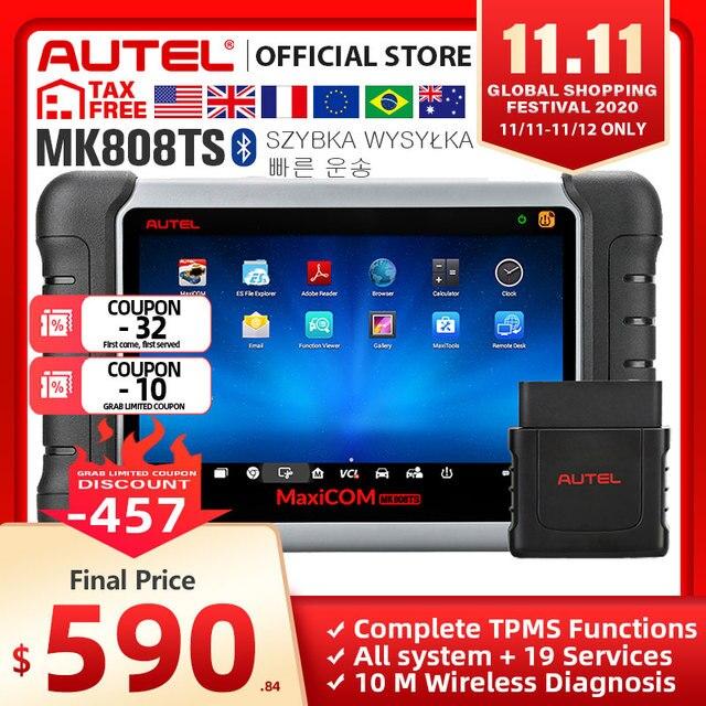 Autel MaxiCOM MK808TS as MK808 إضافة TS601 مستشعر تساوي ضغط الإطارات برمجة OBD2 سيارة أداة تشخيص OBD 2 الماسح الضوئي مفتاح الترميز PK MK808BT