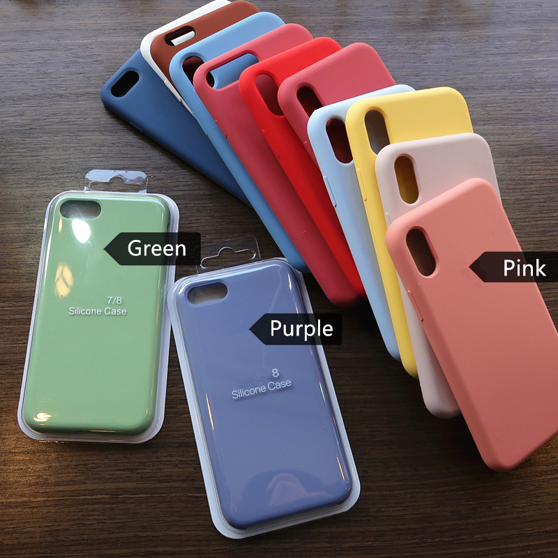 Original Silicone with logo Case For iPhone 6 6s 7 8 Plus SE 2020 Full Cover for iPhone 11 Pro Max X XR XS XSMax Phone Case(China)