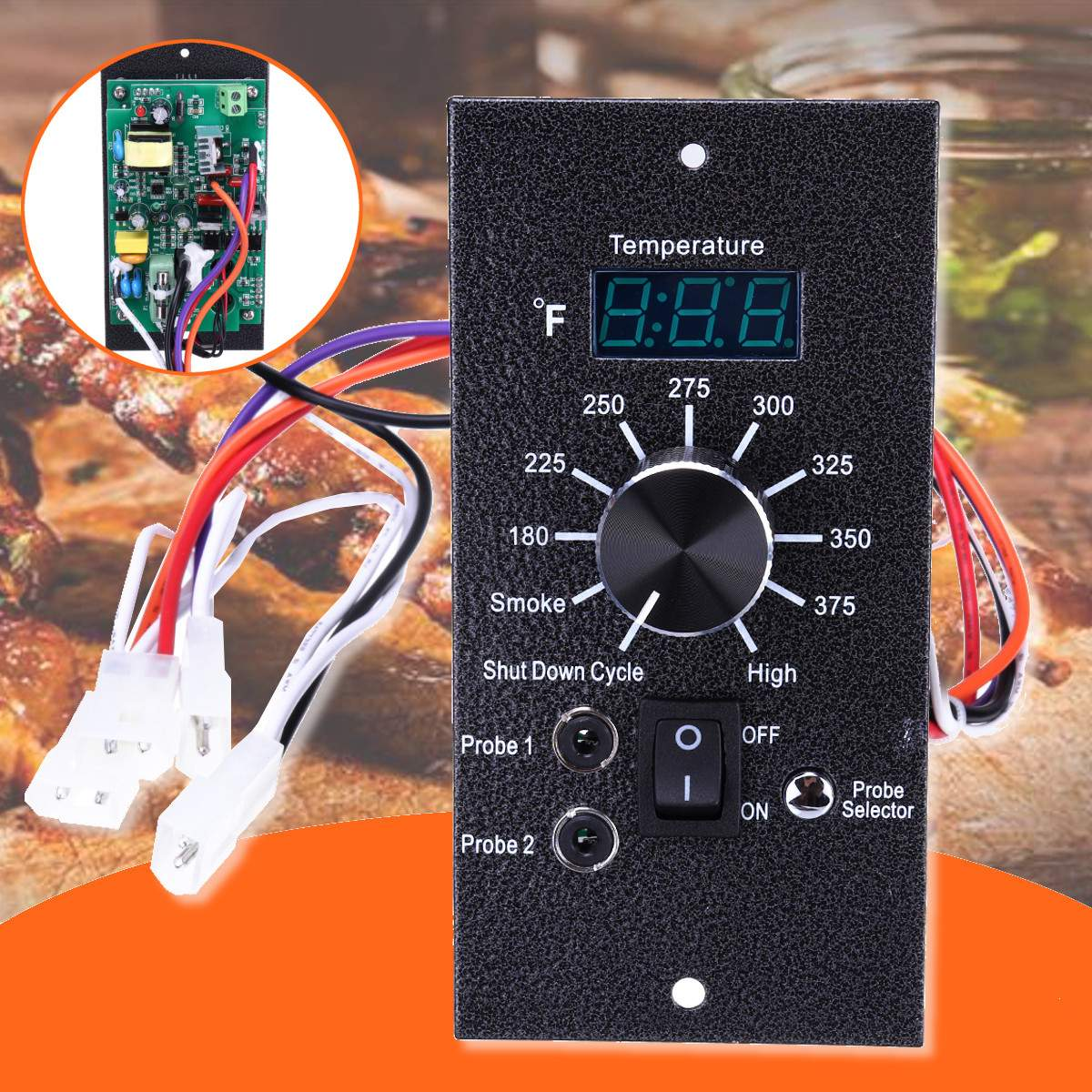 AC 120V Digital Thermostat Controller Board Oven Temperature Control Traeger Pellet Grill Fireplace Parts Replacement Fahrenheit