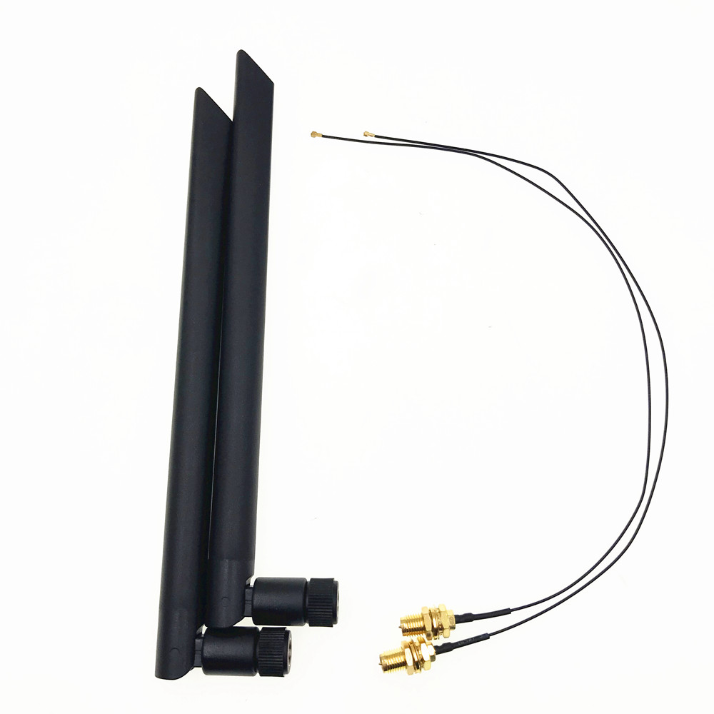 2 X 6dBi Dual Band M.2 IPEX MHF4 U.fl RP-SMA Wifi Antenna Set For Intel AX200 AX201 9260 9560 8265 8260 7265 7260 NGFF M.2 Card