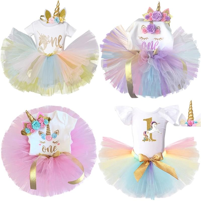 Новое платье с единорогом для маленьких девочек, платье на 1 год рождения, вечерние чное платье принцессы для младенцев, платье для малышей, ...