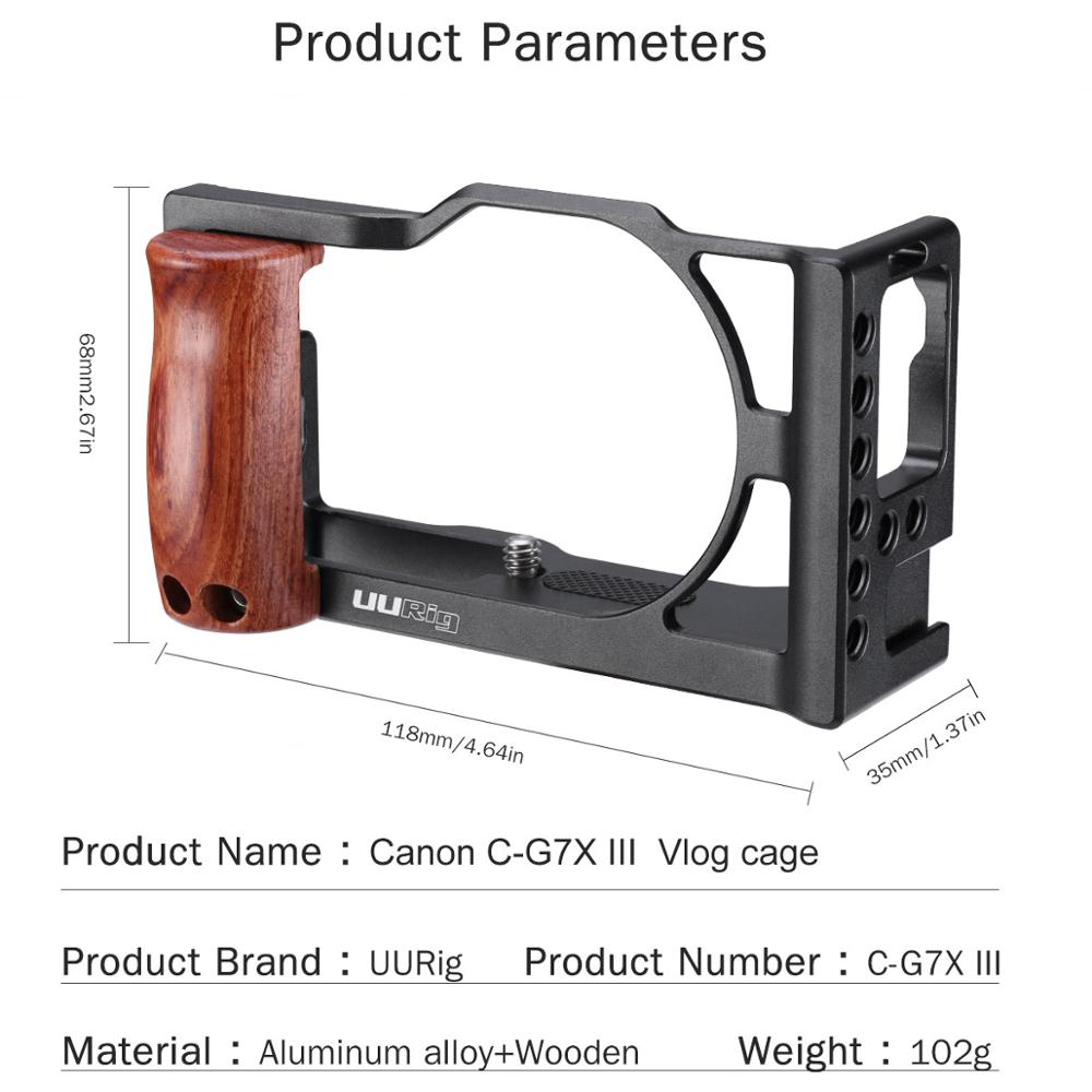 UURig Vlog Camera Cage for Canon G7X Mark III Aluminum Cage Case With Wooden Handle Hand Grip Cold Shoe Mount Camera Accessories