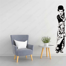 Chaplin movie The Kid Art Deco Wall Sticker and Kids Vinyl Stickers Movie Lovers Home Decor LW618