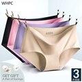 WHPC 3 шт./лот Бесшовные женские трусики, Женские однотонные шелковые трусики, женское нижнее белье, женские трусики, женские трусики