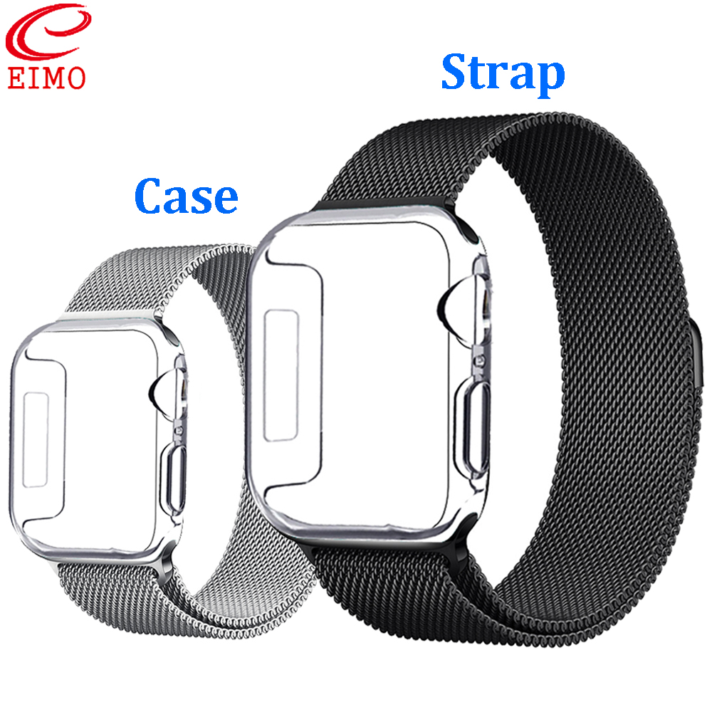 Screen Protective Case For Apple Watch 4 3 5 Apple Watch Band Iwatch Band 42mm 44mm 38mm 40mm Shatter-Resistant Protector Shell
