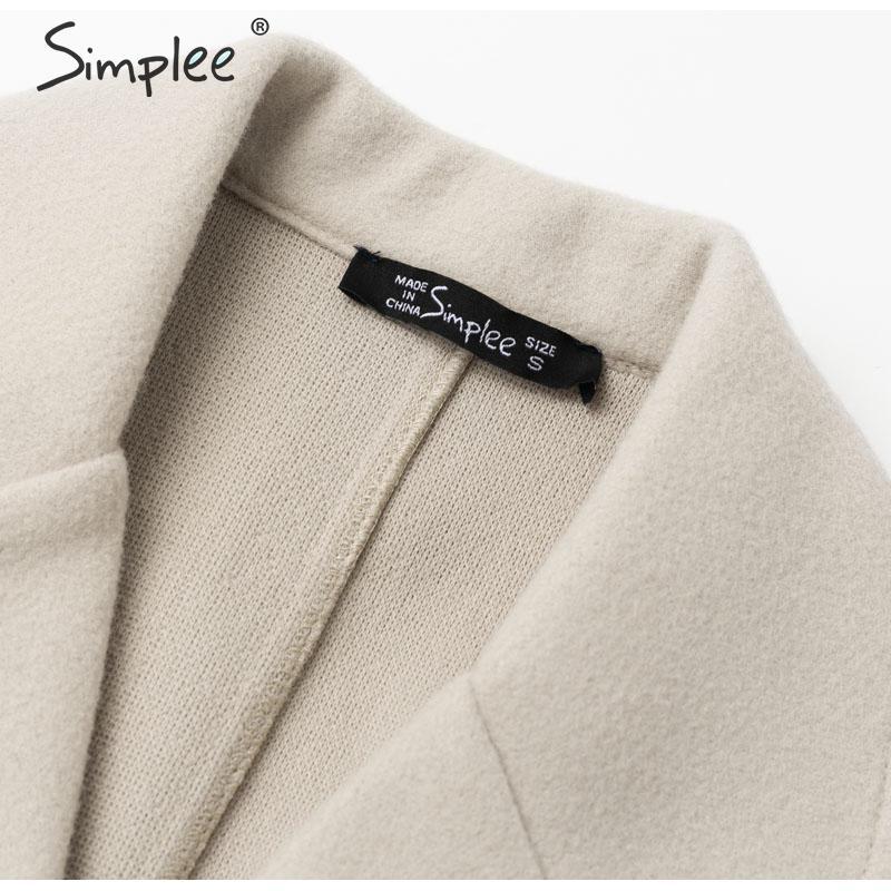 Simplee Wool blend winter tweed coat women Long sleeve elegant sash belt female outwear coat Autumn winter streetwear coat 11
