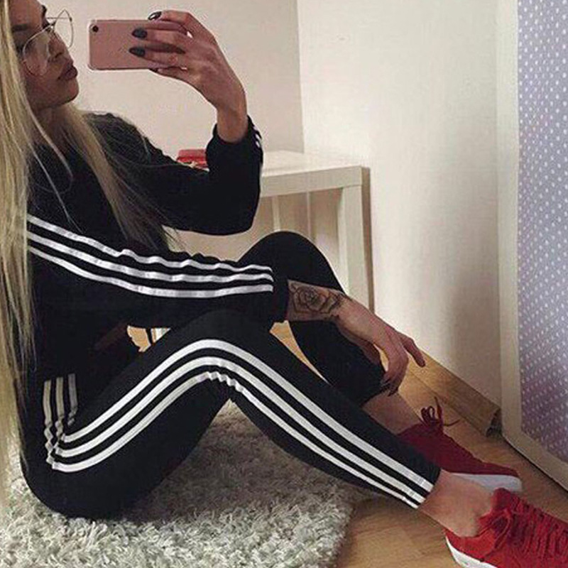 Europe And America Hot Selling AliExpress Sexy Women's Casual Stripes Sports Hoodie Suit 4 Color 4 Code