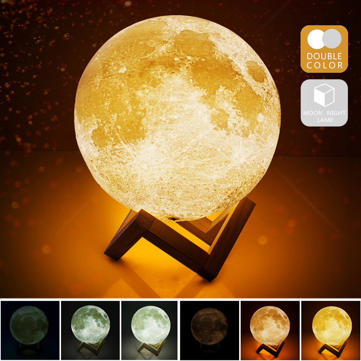 IVYSHION 3D Print Moon Lamp USB Rechargeable 2 Color Touch Control Novelty Lighting Adjustable Moon Lamp Home Decoration
