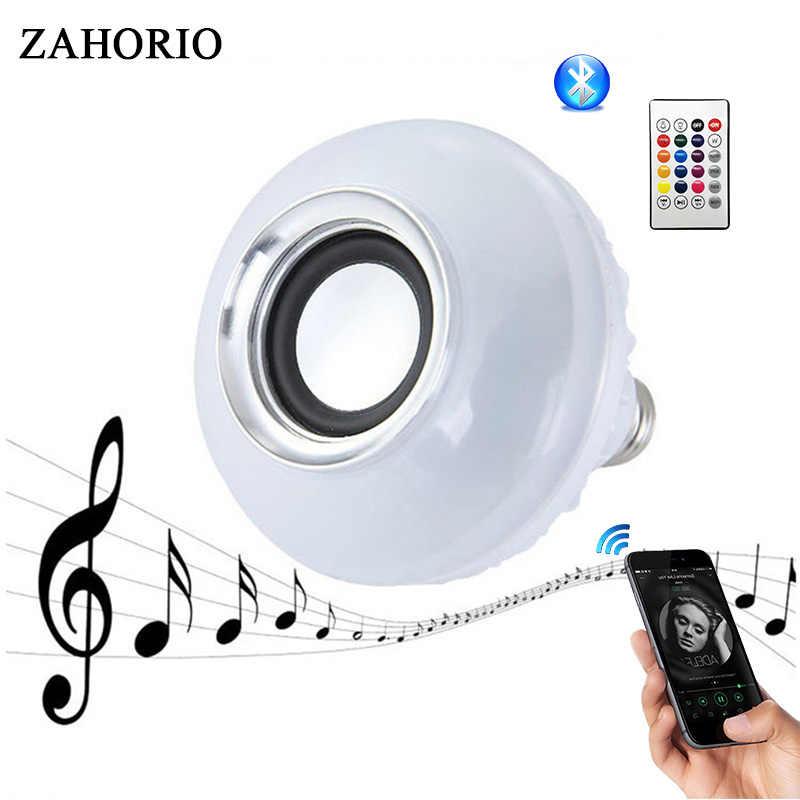 สมาร์ทบลูทูธไร้สายหลอดไฟLedโคมไฟE27 220V RGB Night Lightหลอดไฟด้วยรีโมทคอนโทรลสำหรับHome Spotlightเพลง