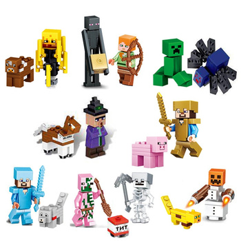 цена на The Diamond Steve Ghast Zombie Witch Model Building Blocks Action Figures Compatible My World MinecraftINGlys Bricks Set Toys